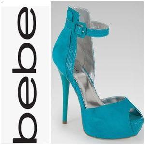 bebe turquoise peacock Lucie peep toe high heel
